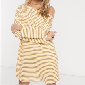 ASOS Yellow Striped One Shoulder T-Shirt Dress